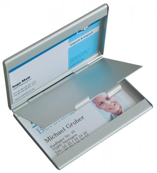 sigel Visitenkarten-Etui ´Twin´, Aluminium, silber, matt