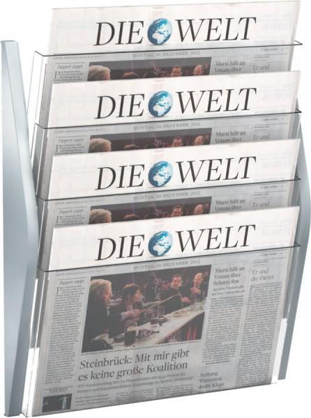 helit 4er Wand-Prospekthalter ´the arc´, DIN A3 quer, blau