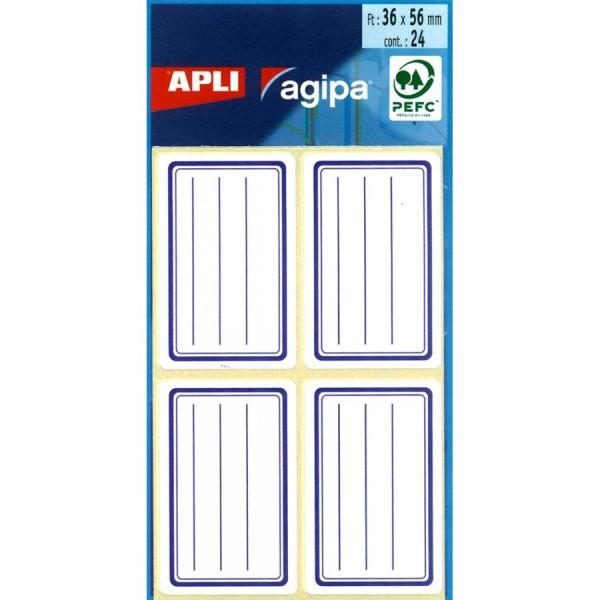 agipa Buchetiketten, weiß/blau, 36 x 56 mm, liniert
