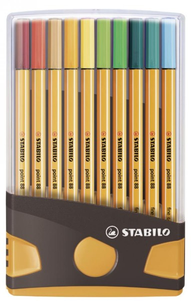 STABILO Fineliner point 88, 20er ColorParade, grau/orange