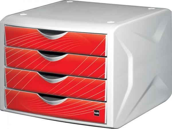 helit Schubladenbox Chameleon, 4 Schübe, Dekor red rook