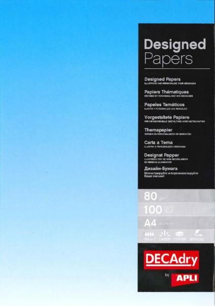 agipa Design-Papier, DIN A4, 80 g/qm, Farbverlauf blau