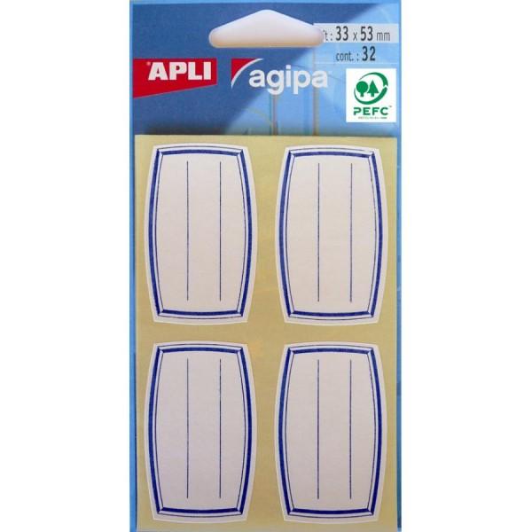 agipa Buchetiketten, weiß/blau, 33 x 53 mm, liniert