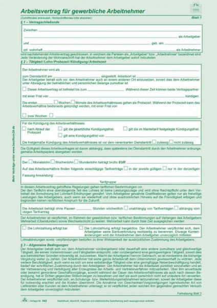 RNK Verlag Vordruck Arbeitsvertrag gewerbliche Arbeitnehmer