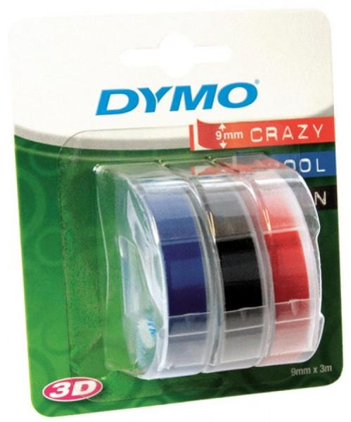 DYMO Prägeband 3D, 9 mm breit, 3 m lang, blau, glänzend 3 Stück