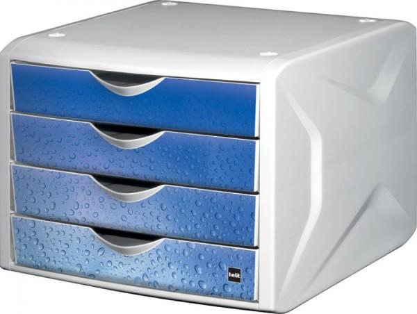 helit Schubladenbox Chameleon, 4 Schübe, Dekor cool water