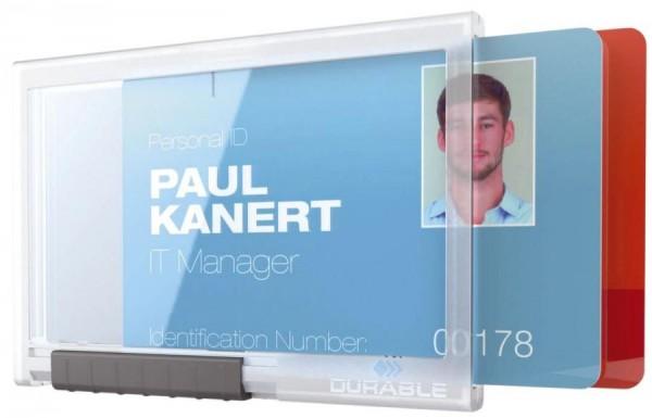 DURABLE Ausweishalter PUSHBOX DUO, transparent