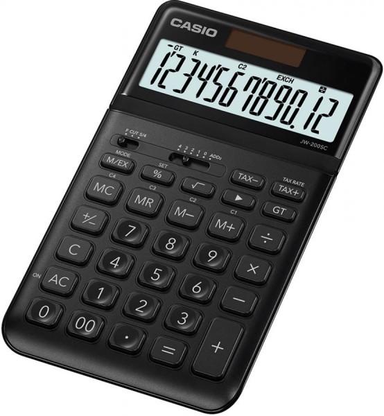 CASIO Tischrechner JW-200SC-GY , Solar-/ Batteriebetrieb