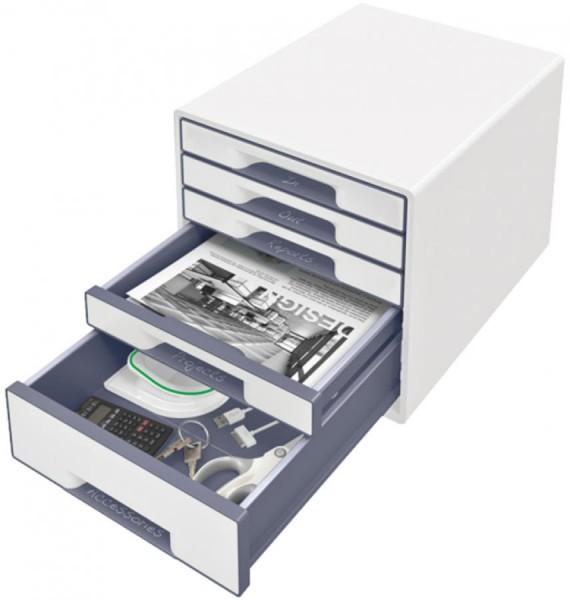 LEITZ Schubladenbox WOW CUBE, 5 Schübe, perlweiß/eisblau