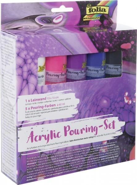 folia Acrylic Pouring-Set ´PASTELL´, 5 Farben/1 Keilrahmen