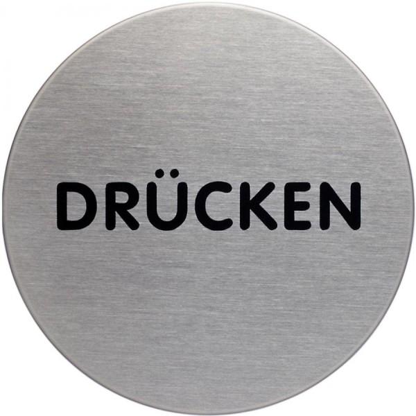 DURABLE Piktogramm ´Drücken´, Durchmesser: 65 mm, silber