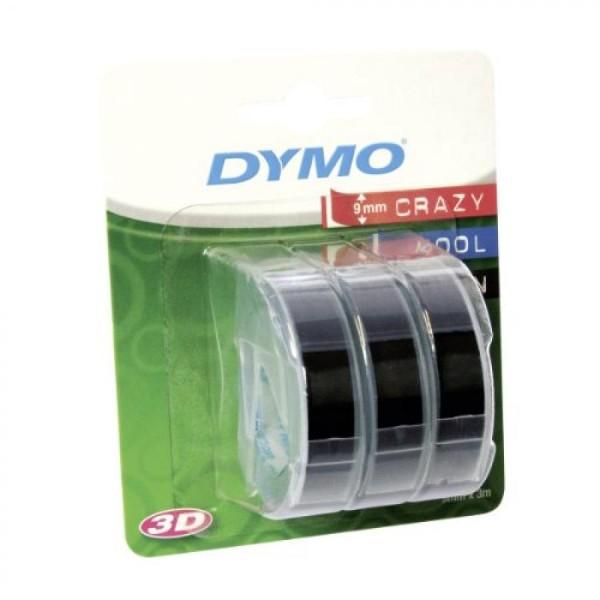 DYMO Prägeband 3D, 9 mm breit, 3 m lang, schwarz, glänzend 3 Stück