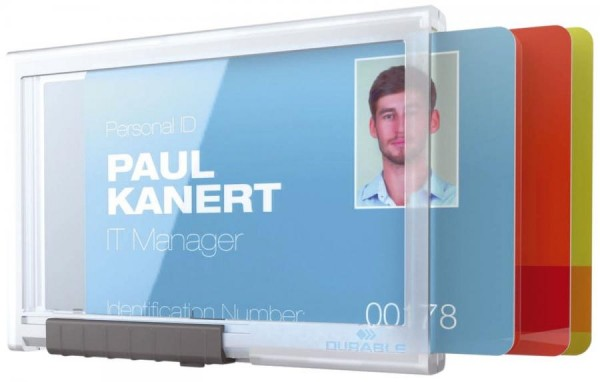 DURABLE Ausweishalter PUSHBOX TRIO, transparent