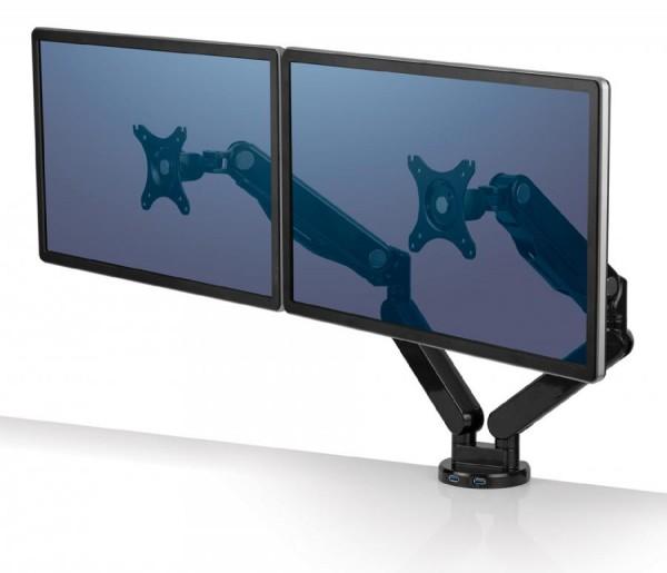 Fellowes TFT-/LCD-Doppel-Monitorarm Platinum, schwarz