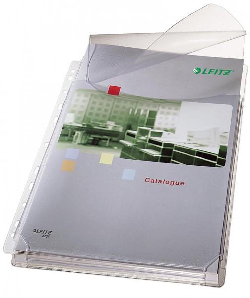 LEITZ Maxi Prospekthülle mit Klappe, A4, PVC, genarbt